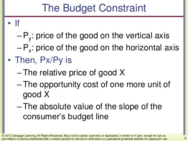 The Budget Constraint • If –Py: price of the good on the vertical axis –Px: price of the good on the horizontal axis • The...