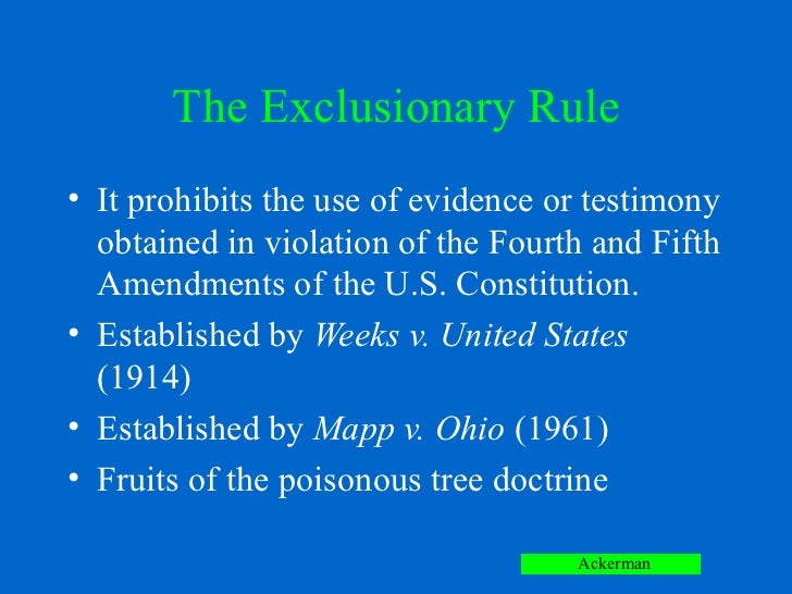 the exclusionary rule essay Exclusionary rule this essay exclusionary rule and other 64,000+ term papers, college essay examples and free essays are available now on reviewessayscom.