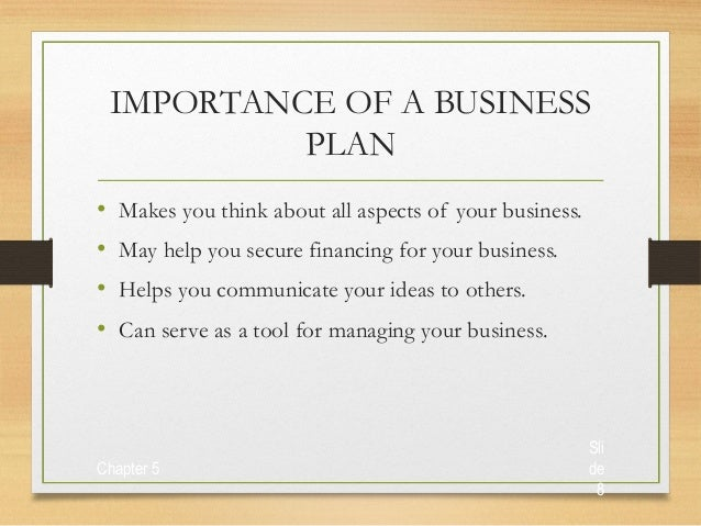 Important aspects of business plan
