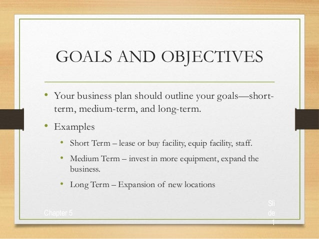 Chapter 6 business plan power point presentation 3 for Company goals and objectives template