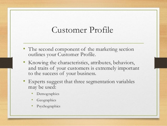 Business plan customer profile essay writing in tagalog