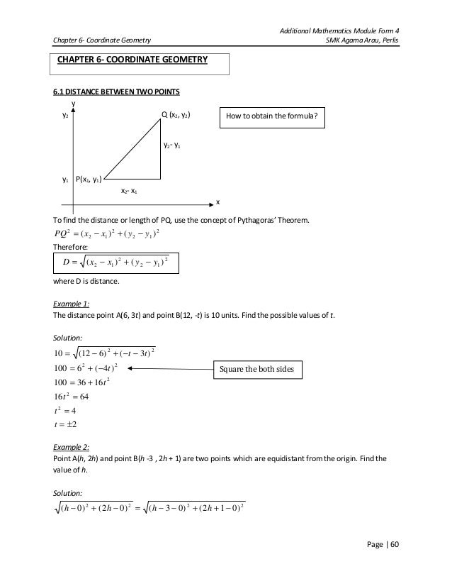 Additional Mathematics Module Form 4Chapter 6- Coordinate Geometry SMK Agama Arau, PerlisPage | 60CHAPTER 6- COORDINATE GE...