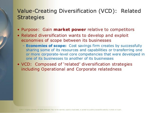 Value-Creating Diversification (VCD): RelatedStrategies• Purpose: Gain market power relative to competitors• Related diver...