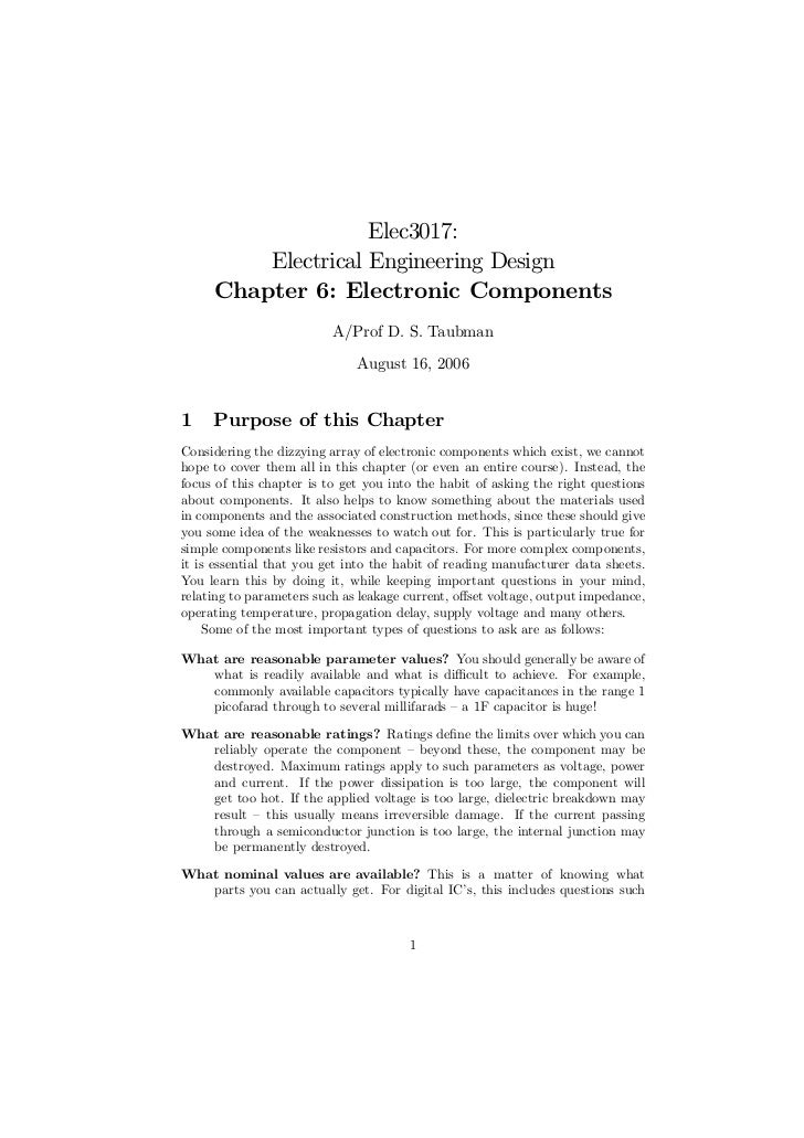 Elec3017:         Electrical Engineering Design     Chapter 6: Electronic Components                          A/Prof D. S....