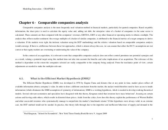 Modelling Innovation – CHAPTER 6    Chapter 6 - Comparable companies analysis         Comparable companies analysis is the...