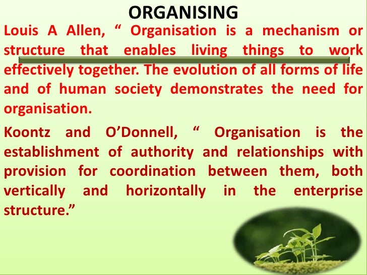 """ORGANISINGLouis A Allen, """" Organisation is a mechanism orstructure that enables living things to workeffectively together...."""