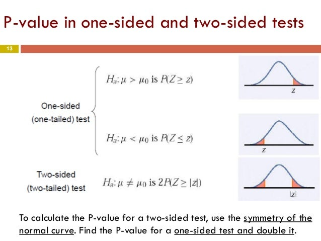 statistical hypothesis testing and two sided test Hypothesis testing the idea of this is called a two-sided test calculate a test statistic for a hypothesis test of a proportion, we use a p-value.