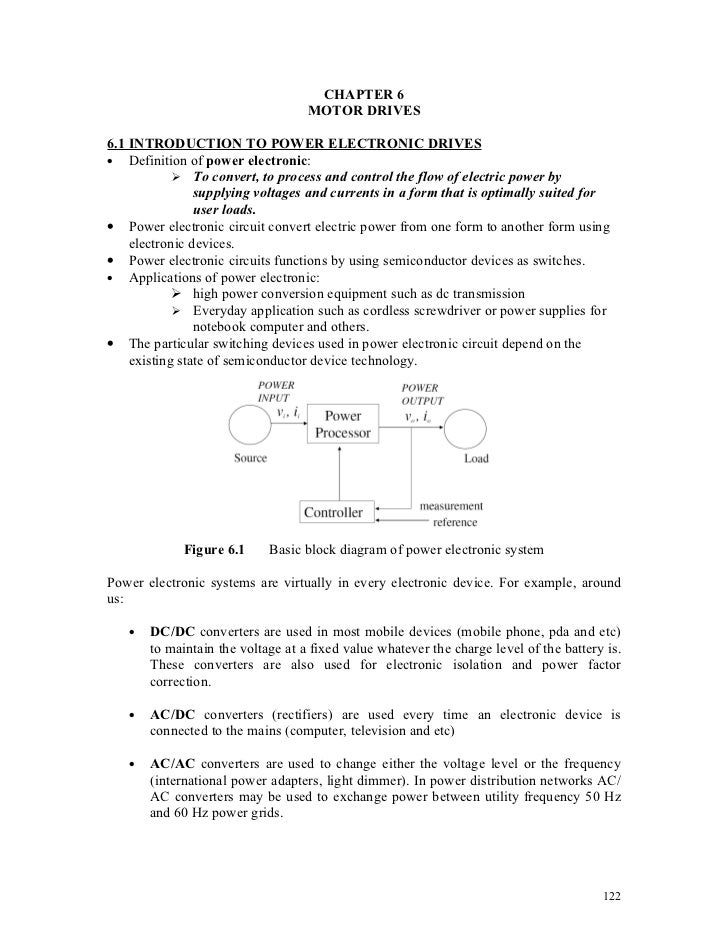CHAPTER 6                                   MOTOR DRIVES6.1 INTRODUCTION TO POWER ELECTRONIC DRIVES• Definition of power e...