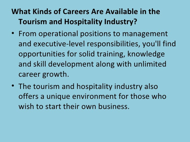What Kinds Of Careers Are Available In The Tourism And Hospitality Industry?