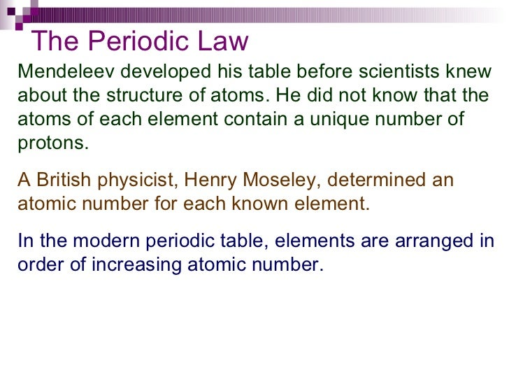Chapter 6 periodic table 5 the periodic law mendeleev developed his table urtaz Gallery