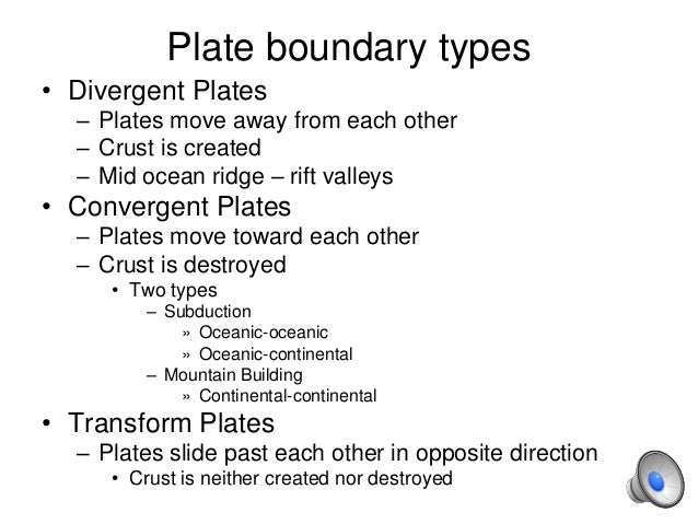 Plate boundary types • Divergent Plates – Plates move away from each other – Crust is created – Mid ocean ridge – rift val...