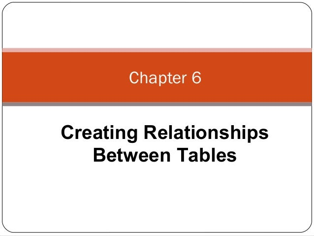 Chapter 6 Creating Relationships Between Tables