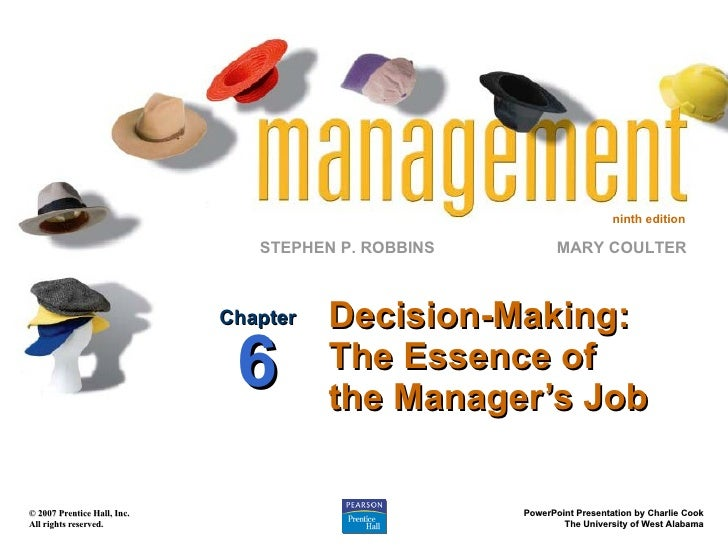 Decision-Making: The Essence of the Manager's Job Chapter 6