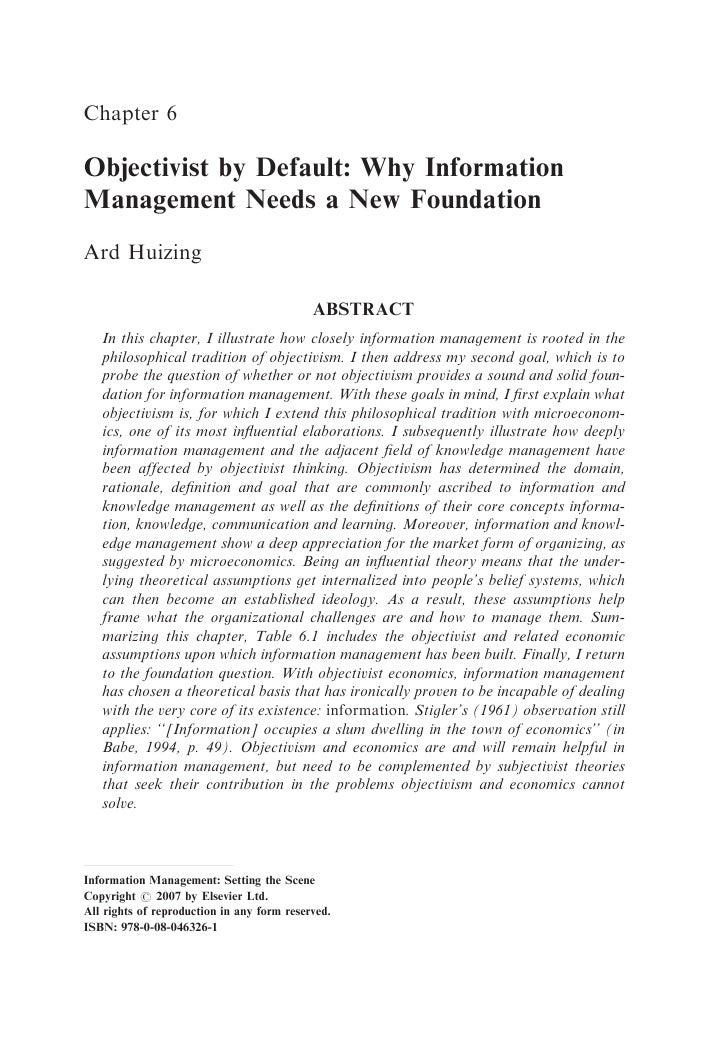 Chapter 6  Objectivist by Default: Why Information Management Needs a New Foundation Ard Huizing                          ...