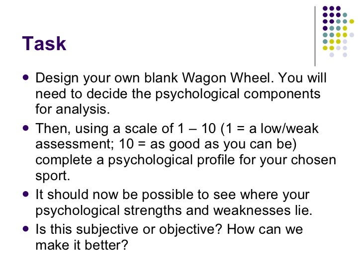 Task <ul><li>Design your own blank Wagon Wheel. You will need to decide the psychological components for analysis.  </li><...