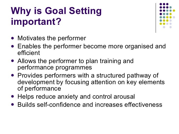 Why is Goal Setting important? <ul><li>Motivates the performer </li></ul><ul><li>Enables the performer become more organis...