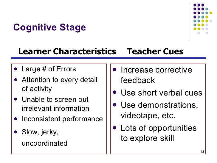 Cognitive Stage <ul><li>Large # of Errors </li></ul><ul><li>Attention to every detail of activity </li></ul><ul><li>Unable...