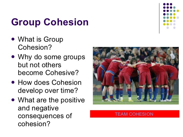 Group Cohesion <ul><li>What is Group Cohesion? </li></ul><ul><li>Why do some groups but not others become Cohesive? </li><...