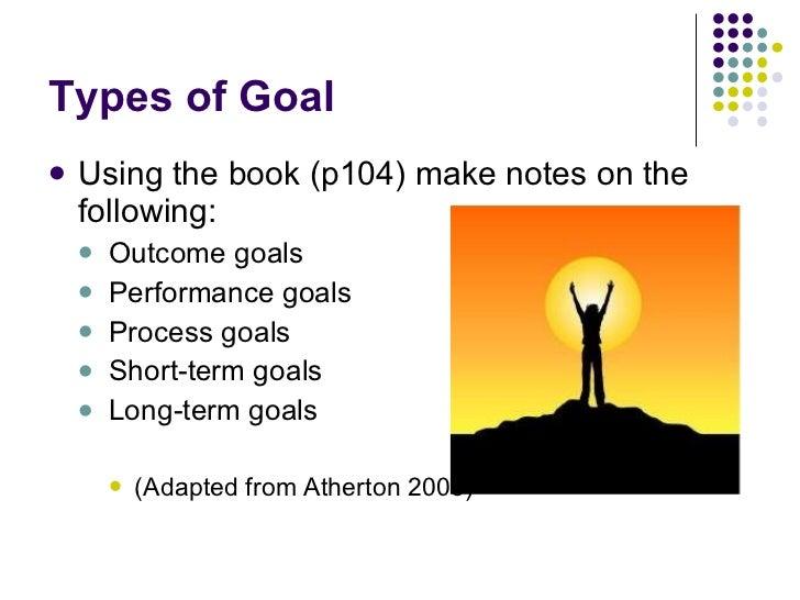 Types of Goal <ul><li>Using the book (p104) make notes on the following: </li></ul><ul><ul><li>Outcome goals </li></ul></u...
