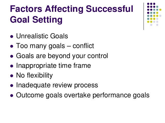 Factors Affecting Successful Goal Setting           Unrealistic Goals Too many goals – conflict Goals are beyond yo...
