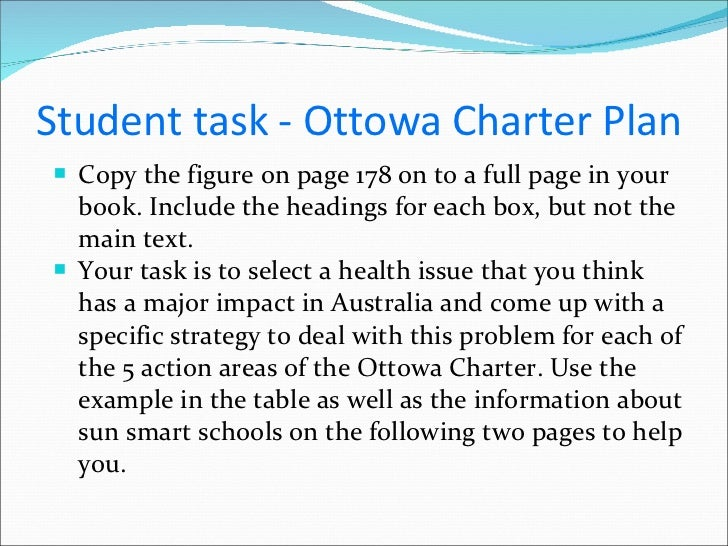 ottawa charter sunsmart Collect images of health promotion programs and/or health promoting resources in their local area eg walking tracks, immunisation advertisements, shade sails over the local playground upload the photos into a padlet and annotate aspects of the social model of health and/or ottawa charter that the particular program or resource meets.