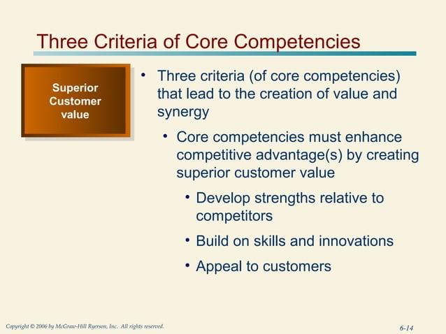 Three Criteria of Core Competencies                                                        • Three criteria (of core compe...