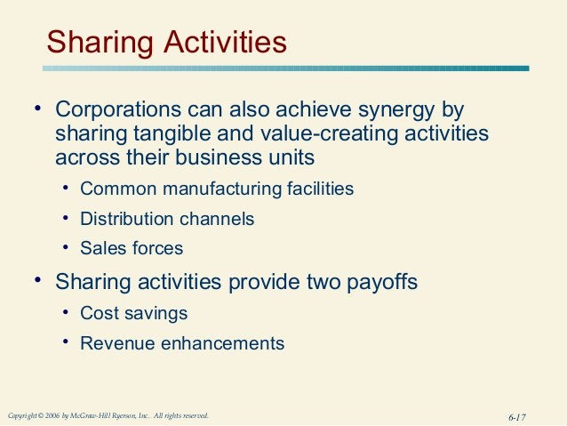 Sharing Activities        • Corporations can also achieve synergy by          sharing tangible and value-creating activiti...