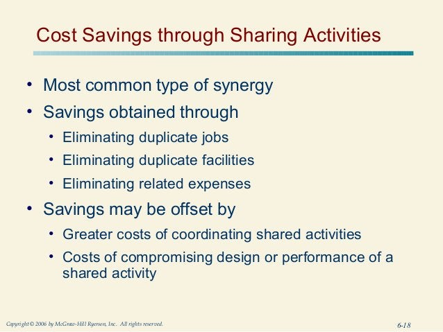 Cost Savings through Sharing Activities        • Most common type of synergy        • Savings obtained through            ...