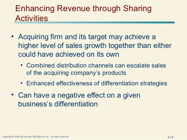 Enhancing Revenue through Sharing            Activities        • Acquiring firm and its target may achieve a          high...