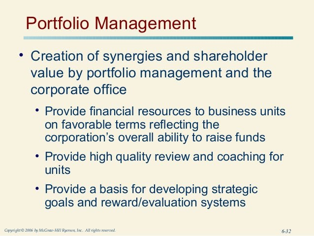 Portfolio Management        • Creation of synergies and shareholder          value by portfolio management and the        ...
