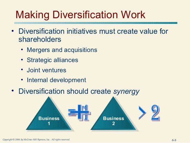 Making Diversification Work        • Diversification initiatives must create value for          shareholders              ...