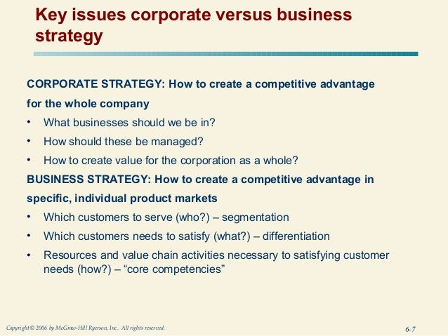 Key issues corporate versus business            strategy        CORPORATE STRATEGY: How to create a competitive advantage ...