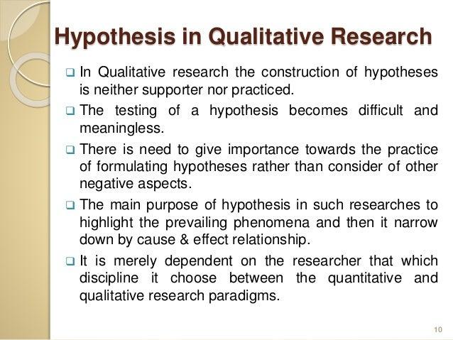 Qualitative hypothesis