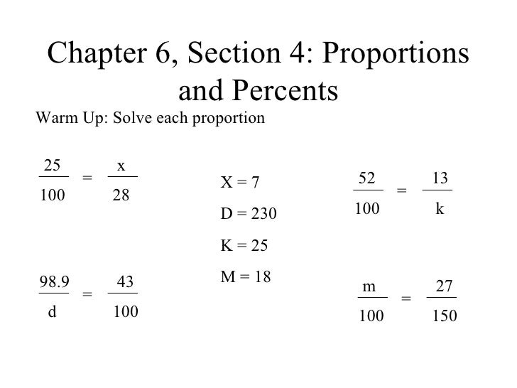 Chapter 6, Section 4: Proportions and Percents Warm Up: Solve each proportion = 98.9 d 43 100 X = 7 D = 230 K = 25 M = 18 ...