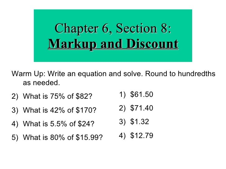 how to use discounts in math