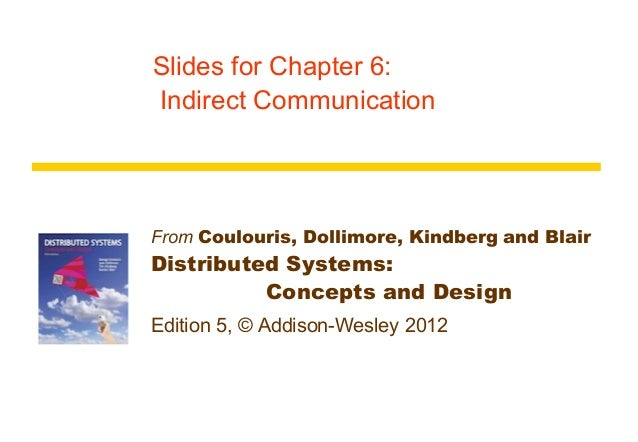 Slides for Chapter 6:Indirect CommunicationFrom Coulouris, Dollimore, Kindberg and BlairDistributed Systems:          Conc...