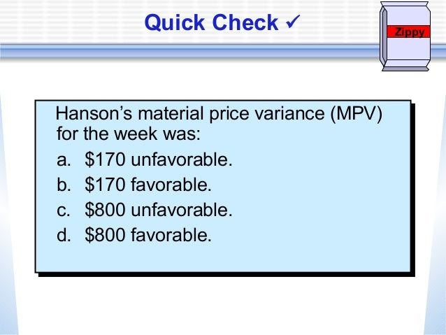 Chapter 6 Standard Costing And Variances Analysis