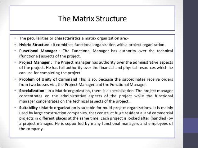characteristics of matrix structure