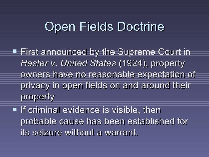 Open fields doctrine essay