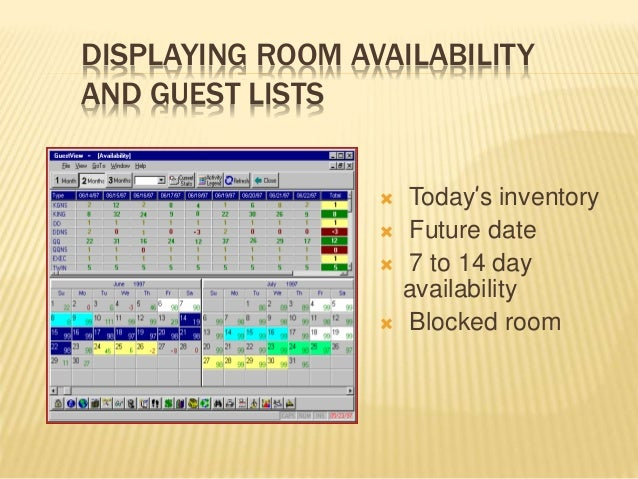 DISPLAYING ROOM AVAILABILITY AND GUEST LISTS  Today's inventory  Future date  7 to 14 day availability  Blocked room