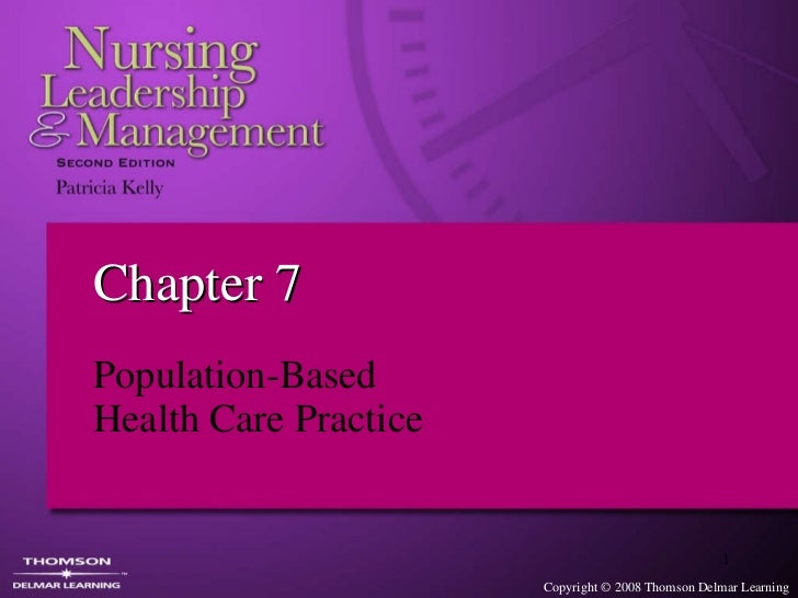 Chapter 7  Population-Based  Health Care Practice