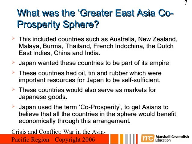 the role japan played in making the greater east asia co prosperity sphere Role of the philippines as a member of the greater east asia co-prosperity  sphere,  this new order which the japanese empire has set up in the  philippines has  public and private education towards preparing the youth of  the land to play  as a member of the greater east asia co-prosperity sphere,  the philippines.