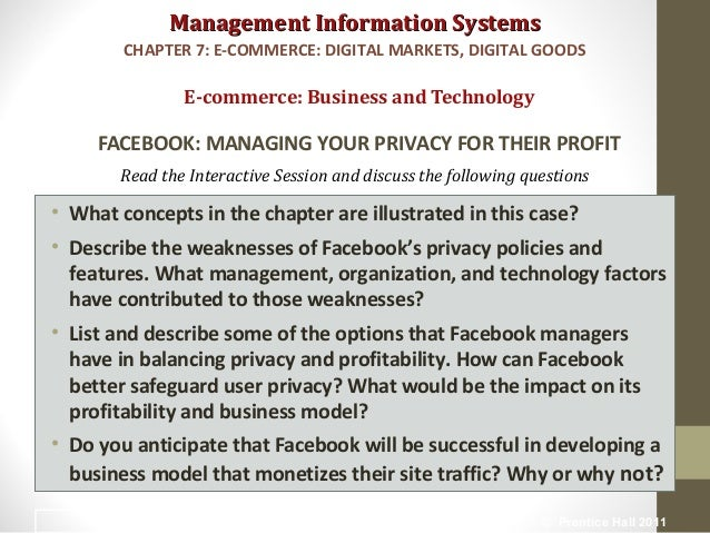 List and describe some of the options that facebook managers have in balancing privacy and profitabi