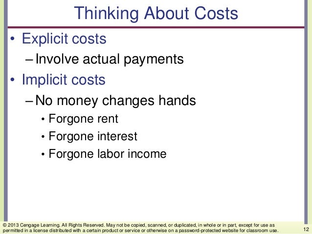 Thinking About Costs • Explicit costs –Involve actual payments • Implicit costs –No money changes hands • Forgone rent • F...