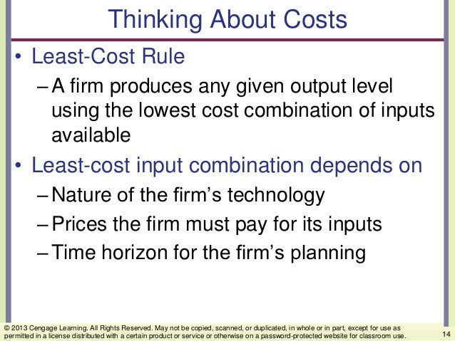 Thinking About Costs • Least-Cost Rule –A firm produces any given output level using the lowest cost combination of inputs...