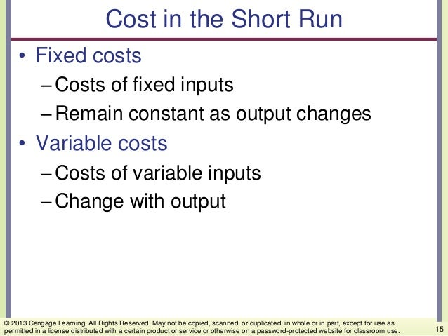 Cost in the Short Run • Fixed costs –Costs of fixed inputs –Remain constant as output changes • Variable costs –Costs of v...