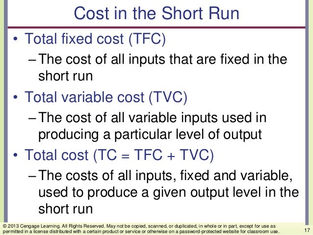 Cost in the Short Run • Total fixed cost (TFC) –The cost of all inputs that are fixed in the short run • Total variable co...