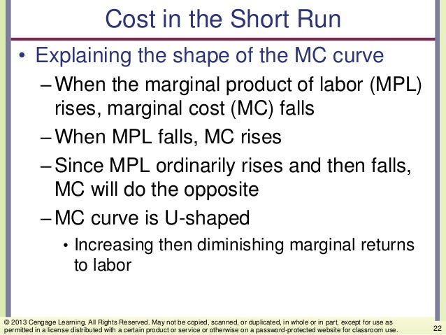 Cost in the Short Run • Explaining the shape of the MC curve –When the marginal product of labor (MPL) rises, marginal cos...