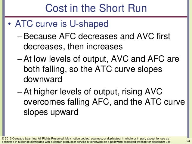 Cost in the Short Run • ATC curve is U-shaped –Because AFC decreases and AVC first decreases, then increases –At low level...