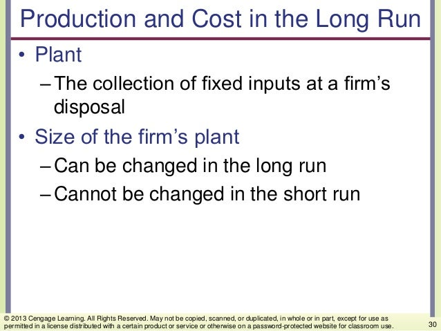 Production and Cost in the Long Run • Plant –The collection of fixed inputs at a firm's disposal • Size of the firm's plan...